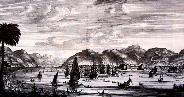 The bay of Ambon, with Victoria castle