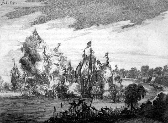 Battle with Portuguese ships before Makassar